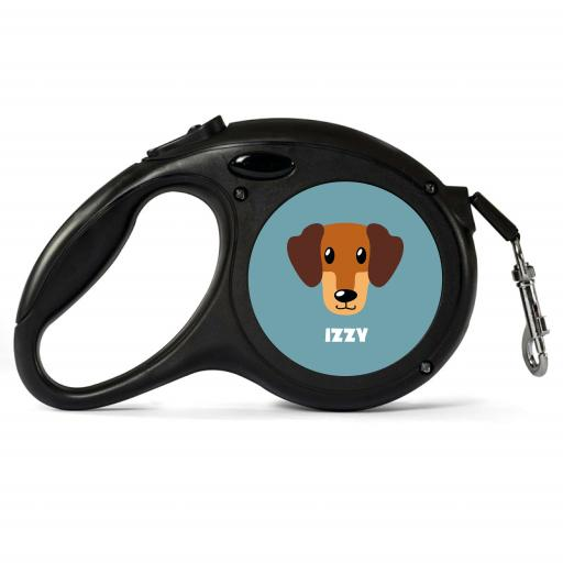 Personalised Caramel Dachshund Retractable Dog Lead - Small