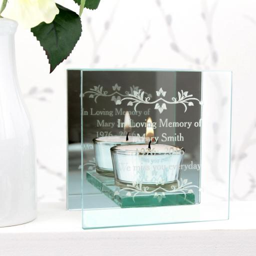 Personalised Engraved Sentiments Mirrored Glass Tea Light Holder