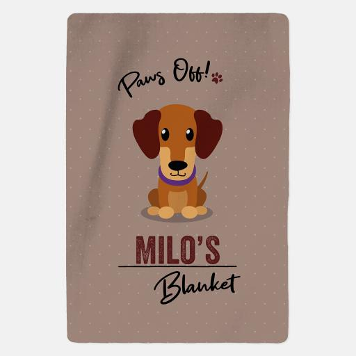 Personalised Caramel Dachshund Fleece Blanket - Paws Off