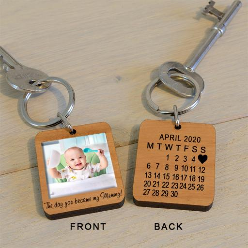 Personalised The Day You Became My Mummy Photo Key Ring.