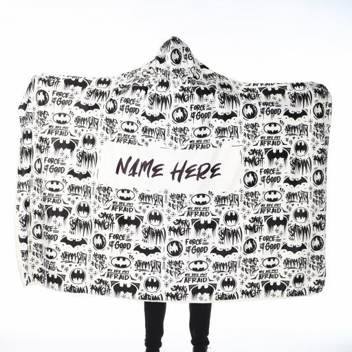 Personalised Batman Adult Hooded Fleece Blanket - Patterned.