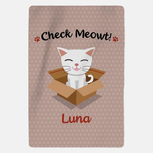 Personalised White Cat Blanket - Check Meowt - Pink