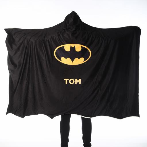 Personalised Batman Adult Hooded Fleece Blanket - Batman Cape.
