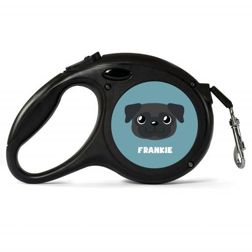 Personalised Black Pug Retractable Dog Lead - Small