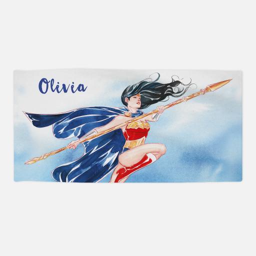 Personalised Wonder Woman™ Beach Towel - Watercolour.