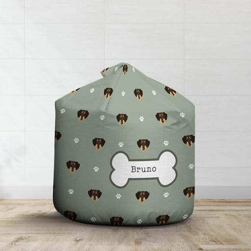 Personalised Brown Dachshund Bean Bag - Pattern