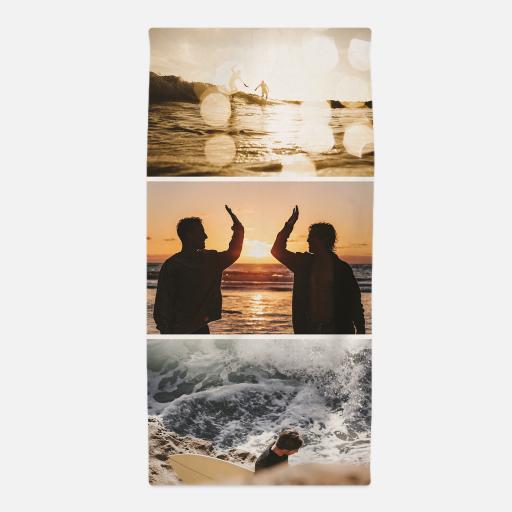 Personalised Three Photo Upload Towel - 70 x 140.