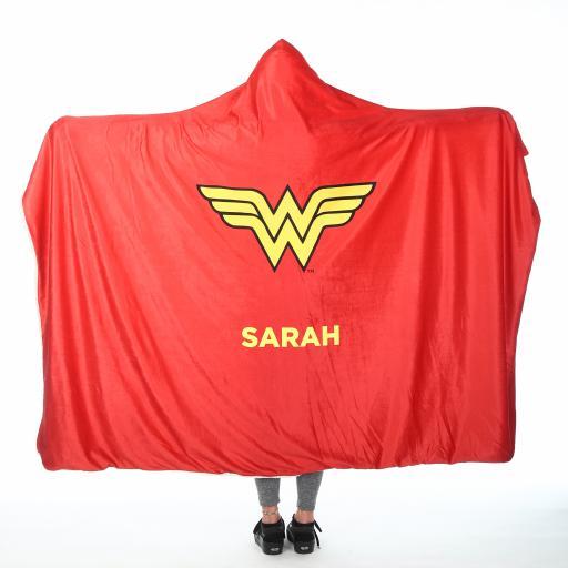 Personalised Wonder Woman™ Adult Hooded Blanket - Wonder Woman Cape.