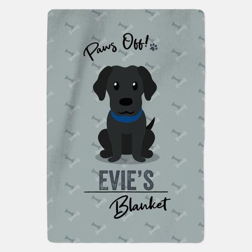 Personalised Black Labrador Fleece Blanket - Paws Off