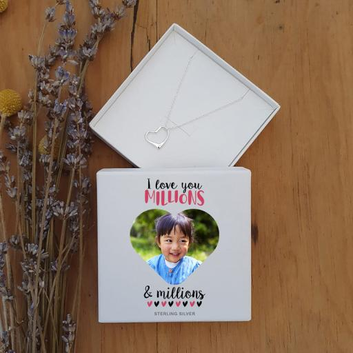 Personalised Photo Upload Love You Millions Silver Heart Pendant