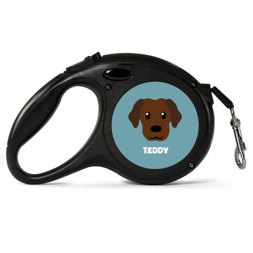 Personalised Chocolate Labrador Retractable Dog Lead - Small