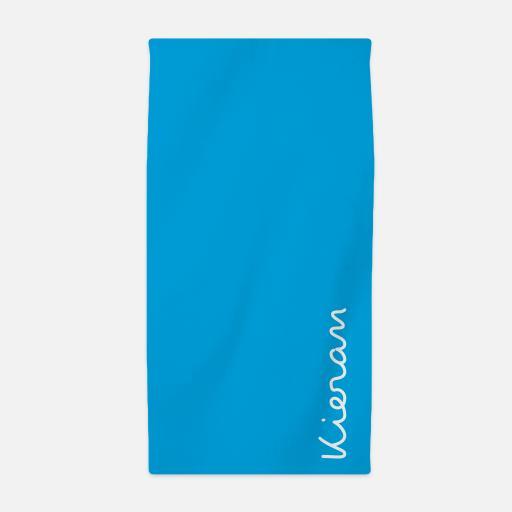 Personalised Personalised Beach Towel - White on Blue.