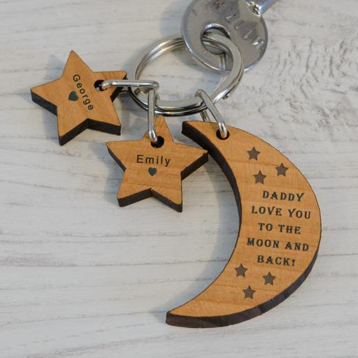 Personalised Moon and Stars Key Ring.