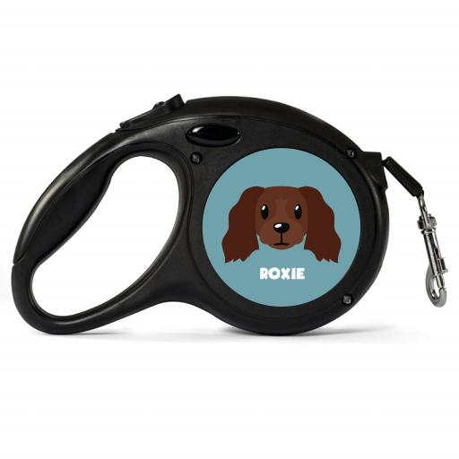 Personalised Chocolate Cocker Spaniel Retractable Dog Lead - Small