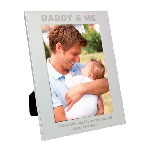Personalised engraved Silver 5x7 Daddy and Me Photo Frame