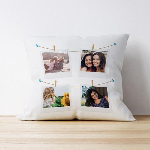 Photo Upload Cushion - 4 photo - Polaroid Design