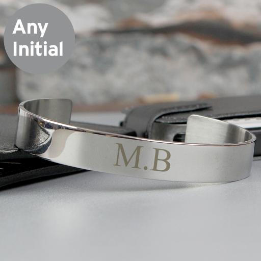 Engraved Initial Stainless Steel Bangle