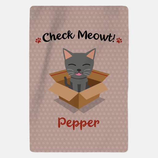 Luxury Personalised Grey Cat Fleece Blanket - Check Meowt - Pink