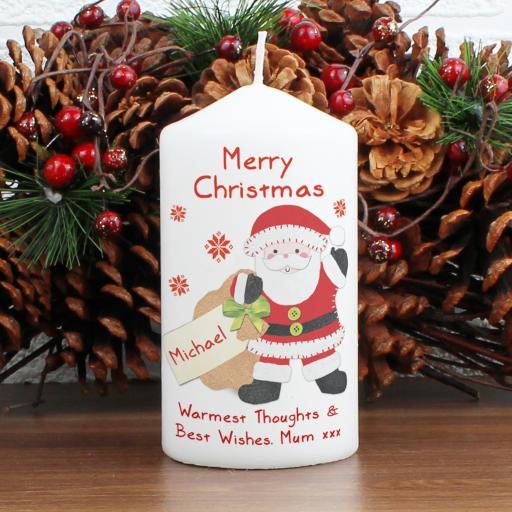 Personalised Felt Stitch Santa Candle