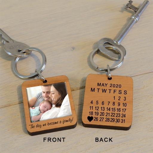 Personalised The Day We Became A Family Photo Key Ring.