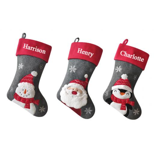 Luxury Deluxe Grey Personalised Embroidered Christmas Stocking