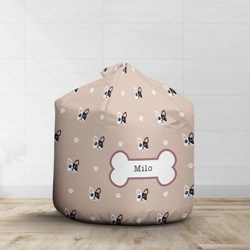 Personalised White and Black French Bulldog Bean Bag - Pattern