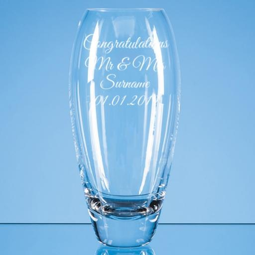 Personalised Design 1 - 18cm Diamante Petit Vase with Heart Design in an attractive Gift Box.