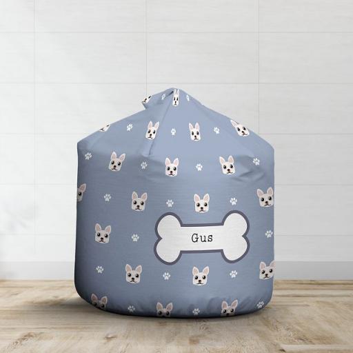Personalised White French Bulldog Bean Bag - Pattern