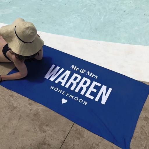 Personalised Honeymoon Beach Towel.