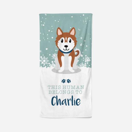 Personalised Husky Towel - Owner