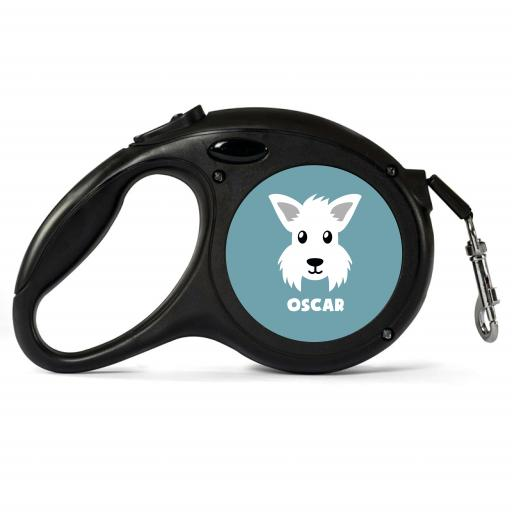 Personalised Westie Retractable Dog Lead - Large