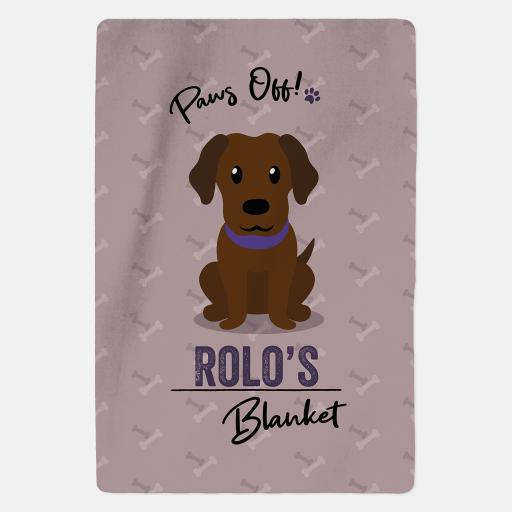 Personalised Chocolate Labrador Fleece Blanket - Paws Off