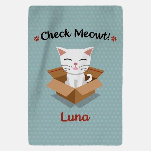 Luxury Personalised White Cat Fleece Blanket - Check Meowt - Blue