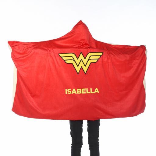 Personalised Wonder Woman™ Kids Hooded Blanket - Wonder Woman Cape.