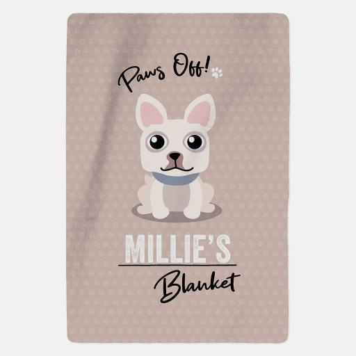 Personalised White French Bulldog Fleece Blanket - Paws Off
