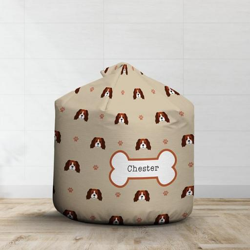 Personalised Red and White Cocker Spaniel Bean Bag - Pattern
