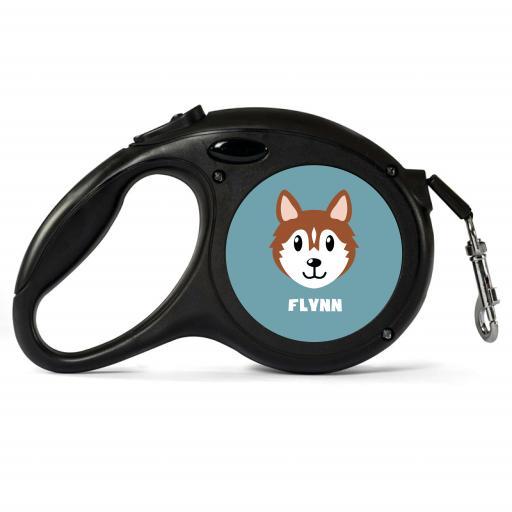 Personalisd Brown Husky Retractable Dog Lead - Small