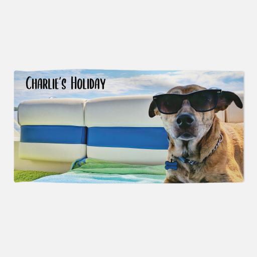 Personalised Pet Towel -Photo Upload  - Black Text - 70 x 140