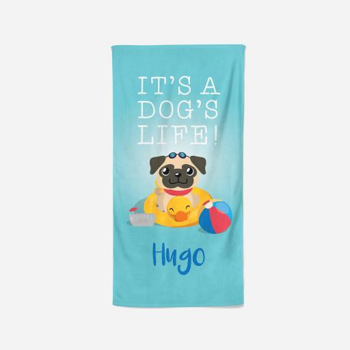 Personalised Fawn Pug Towel - Dogs life