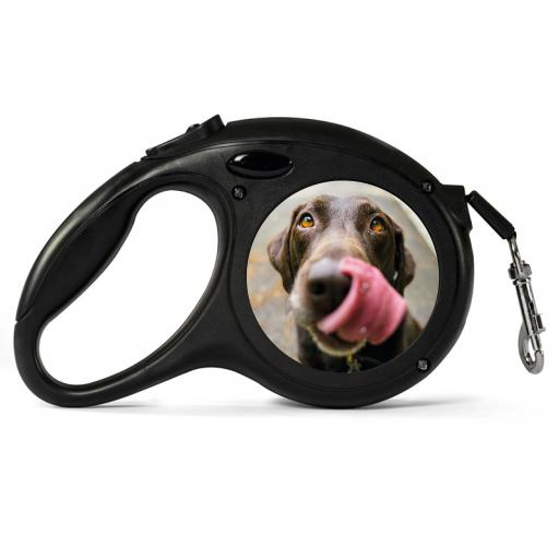 Personalised Black Retractable Dog Lead - Photo Upload - Small