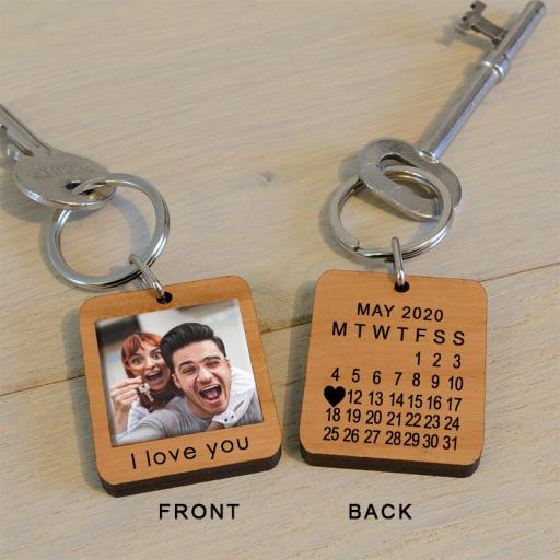 Personalised Personalised Photo and Date Key Ring.