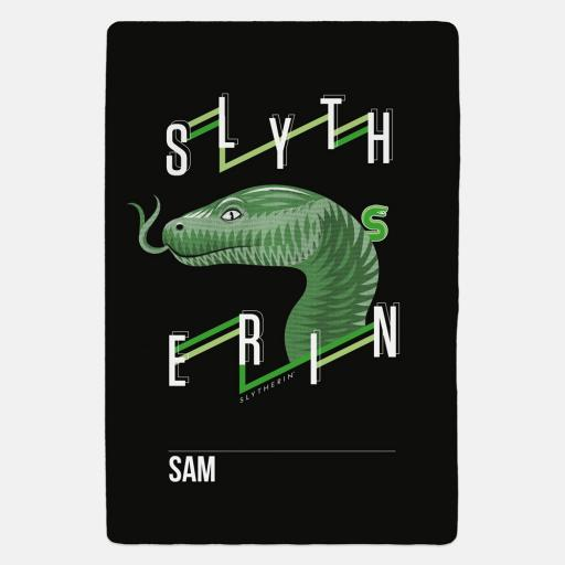 Slytherin™ Neo Print Personalised Fleece Blanket