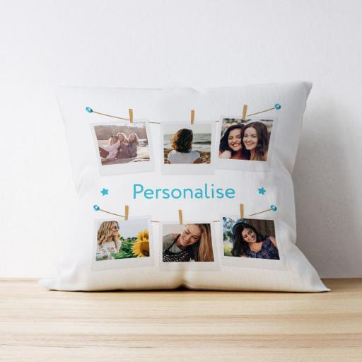 Photo Upload Cushion - 6 photo - Polaroid Design