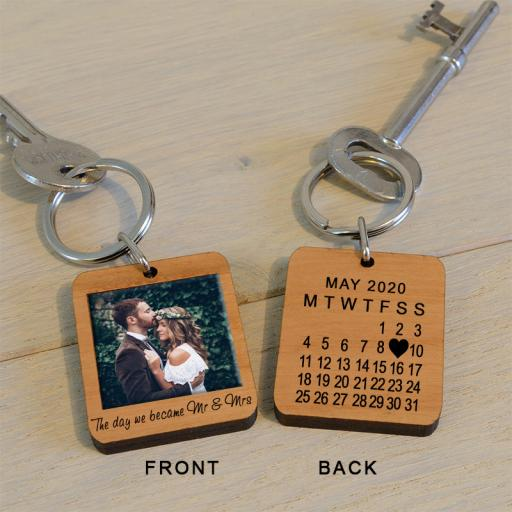 Personalised The Day We Became Mr & Mrs Photo Key Ring.