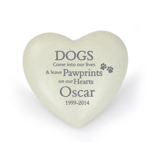 Personalised Dog Pawprints Heart Memorial