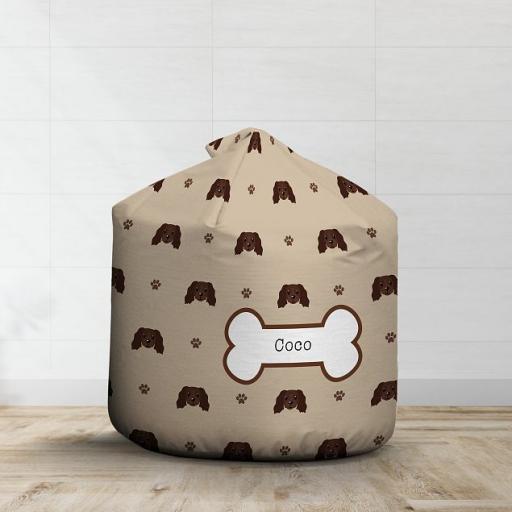 Personalised Chocolate Cocker Spaniel Bean Bag - Pattern