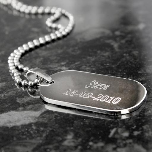 Personalised  Engraved Stainless Steel Dog Tag Necklace