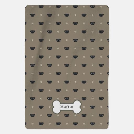 Personalised Black Pug Fleece Blanket - Pattern