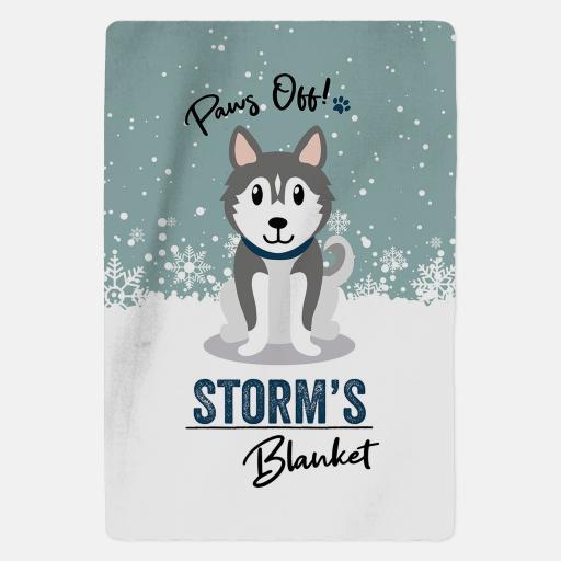 Personalised Grey Husky Fleece Blanket - Paws Off