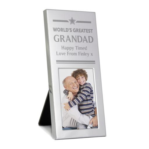 Personalised engraved World's Greatest Small Silver 2x3 Photo Frame